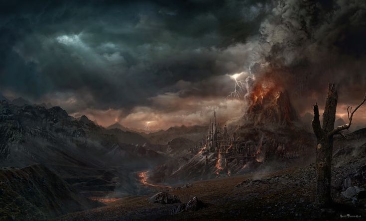 Cyberlance Volcano City - Sarel Theron Digital Matte Painting