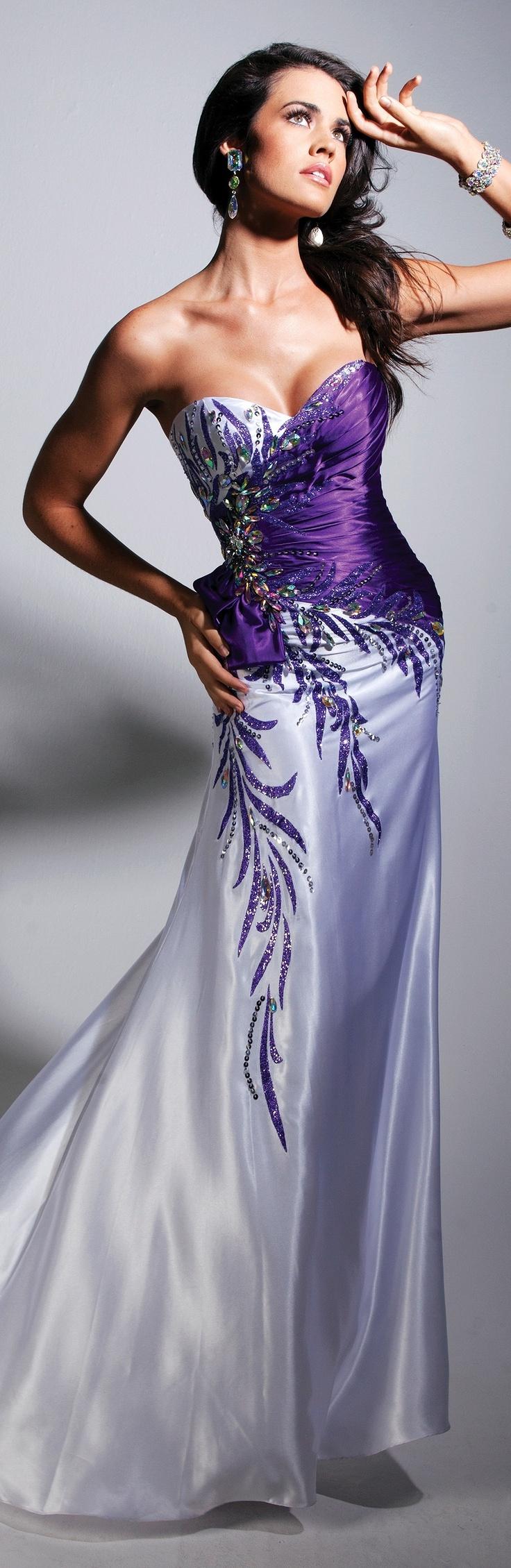 Dresses, Formal, Prom Dresses, Evening Wear: Long Strapless Sweetheart Purple…