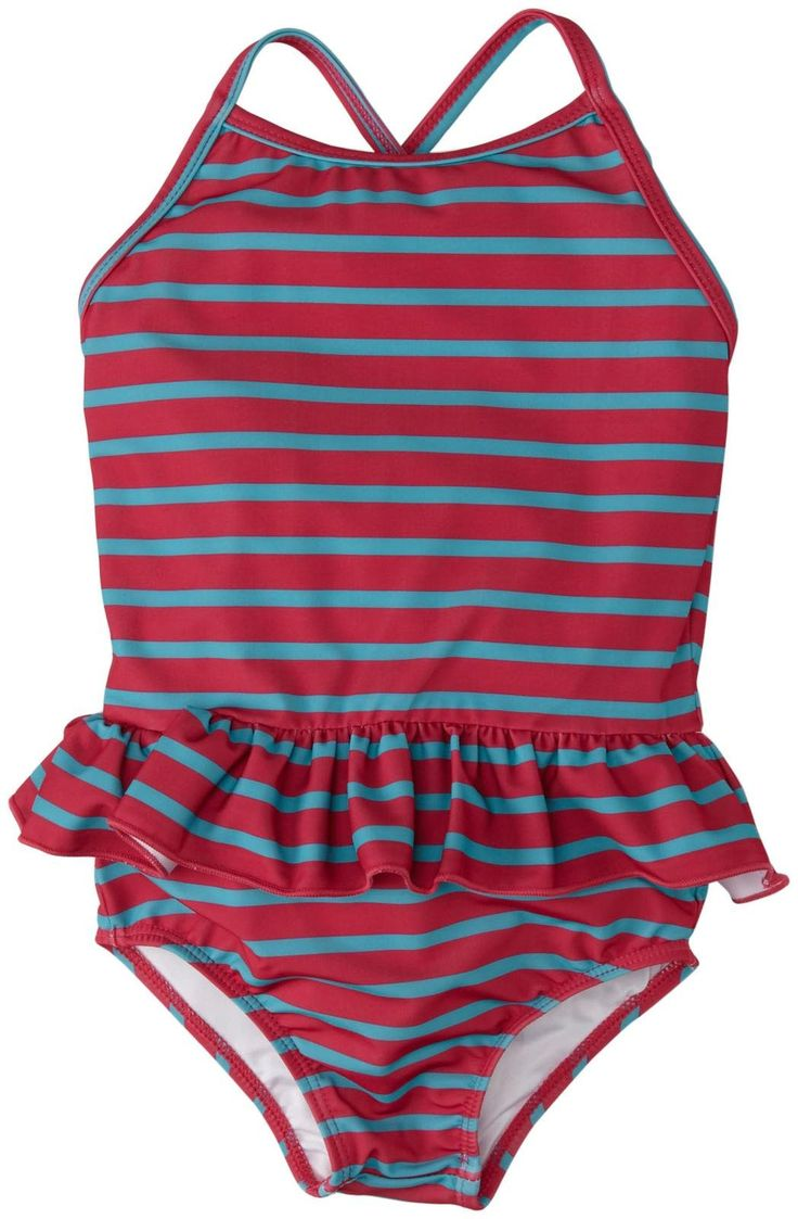 Egg by Susan Lazar Skirt Swimsuit (Toddler/Kid) - Magenta Stripe