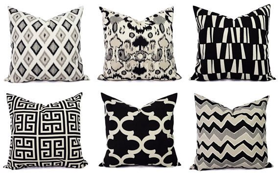 Black Throw Pillow Cover  Black and Beige by CastawayCoveDecor