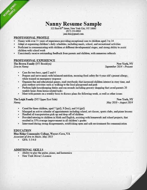 Resume Examples Nanny Examples Nanny Resume Resumeexamples Job Resume Samples Job Resume Examples Resume Examples