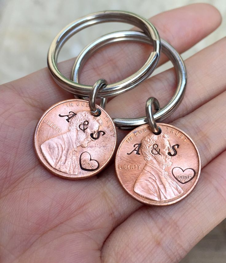 1995 Penny keychain for couples, Personalized penny keychain, 20 year anniversary gift for couples, 20th anniversary gifts for him, men gift by GuitarPickKeychainB on Etsy https://www.etsy.com/listing/228275049/1995-penny-keychain-for-couples