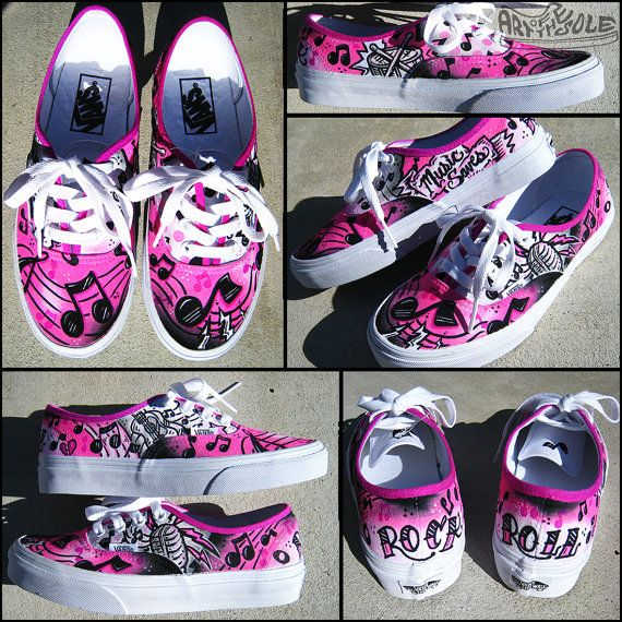 Music Saves Handpainted Custom Vans Shoes by ArtOfTheSole on Etsy, $165.00