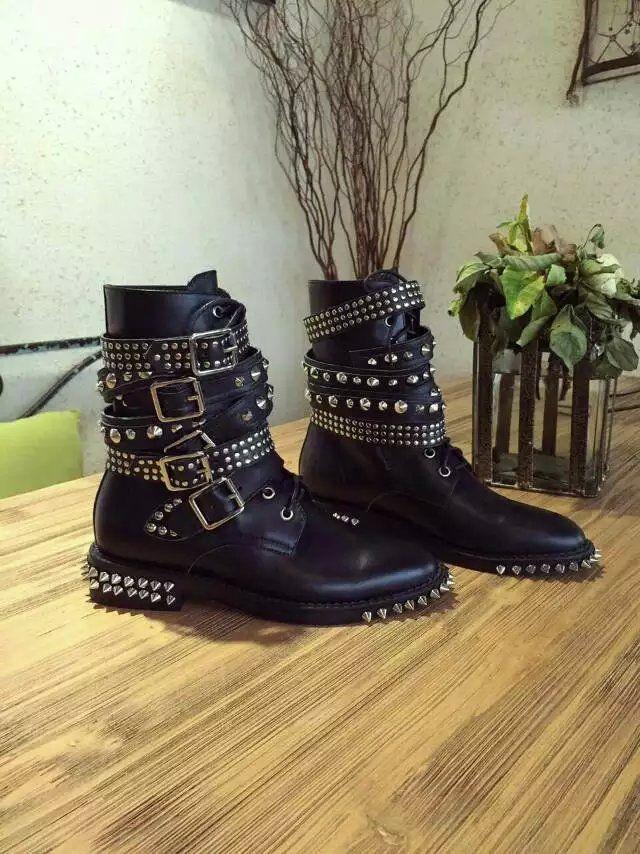 Европейский Гран-при 2016 года новые зимние ботинки кожаные ботинки модели подиума заклепки пряжки ремня сапоги кружева Мартин - глобальная станция Taobao