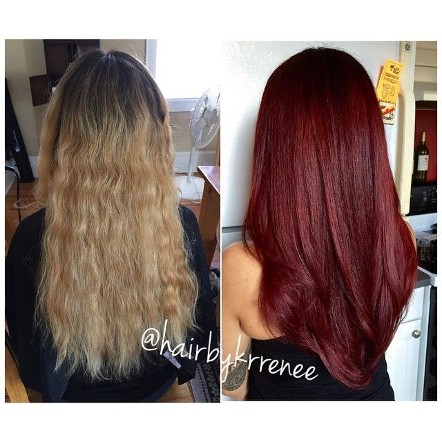 Before/after. We did a super rich, deep red violet  I love doing huge transformations because it gives me a chance to challenge myself, plus it's such an exciting change for the client!