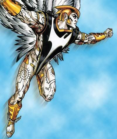 Zauriel of the Justice League of America.  Originally intended to be the new Hawkman.  IMO, one of the most original concepts to enter mainstream comics in a long time.