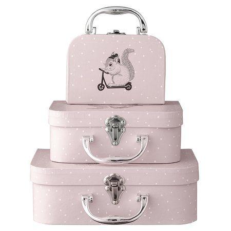 Bloomingville Mini Kinder-Kofferset 3-teilig gepunktet rosa