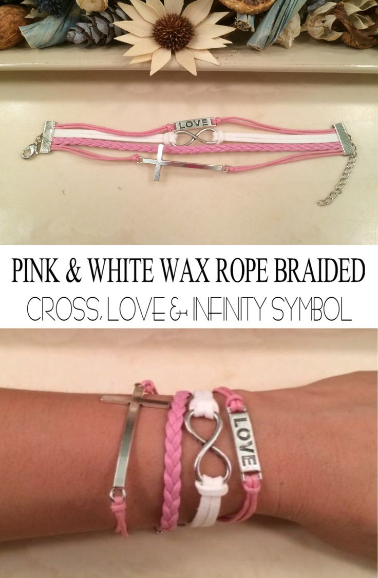 Cross Love & Infinity Multi-layer Wax Rope Braided Bracelet Cross Love & Infinity Multi-layer Wax Rope Braided Bracelet. Wonderful gift for your friends and love ones. Will look great worn alone or st More