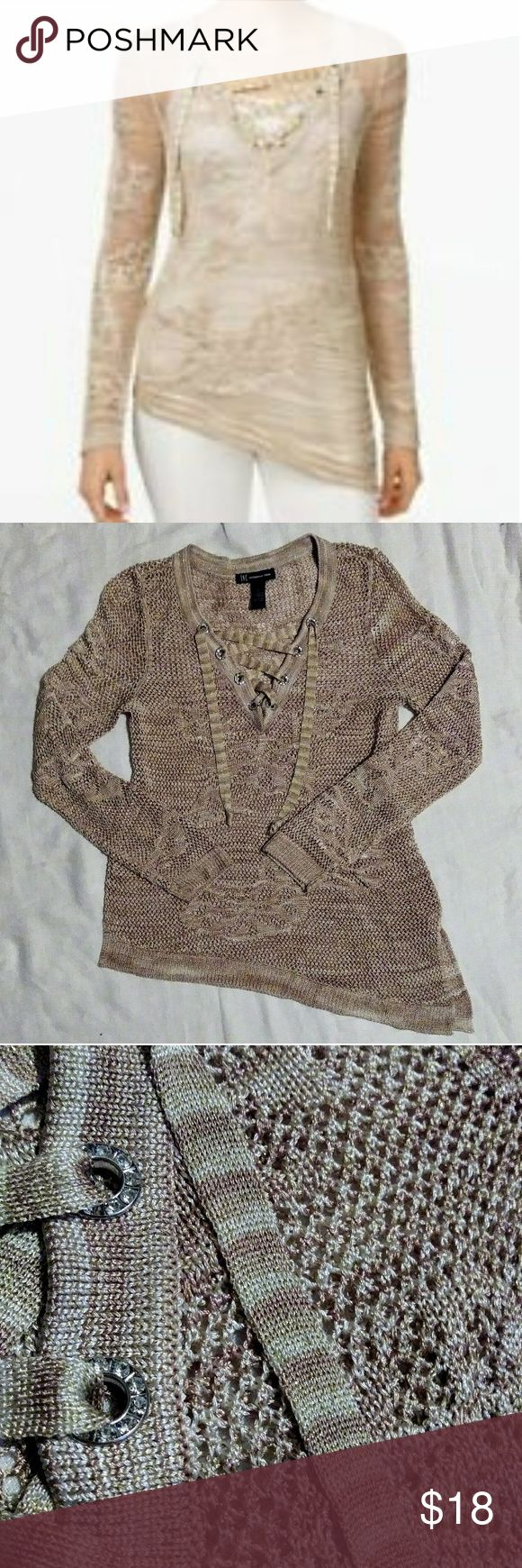 INC International Concepts Gold Metallic Sweater Sheer Gold and Cream Asymmetrical Sweater. Lace Up V-Neck Sheer Knit Sturdy Knit delicate without being so delicate you can't wear it well. Holds its shape.  Machine Wash EUC - from Macy's INC International Concepts Sweaters V-Necks