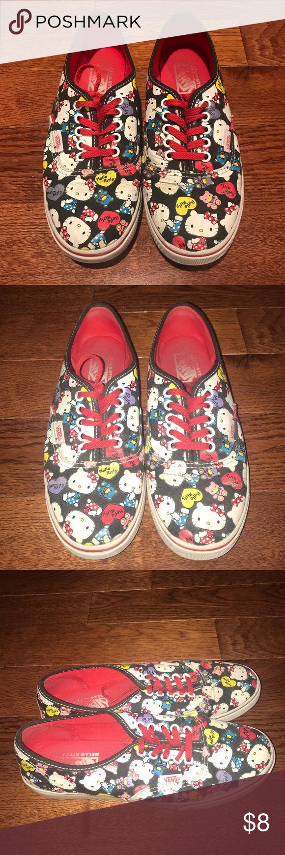 Hello Kitty Vans! Hello Kitty print vans with red detailing. Really worn so willing to negotiate price. Vans Shoes Sneakers