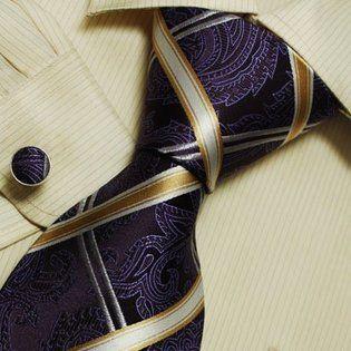 Purple Paisleys designer mens ties White Checker fashion silk necktie Cufflinks set