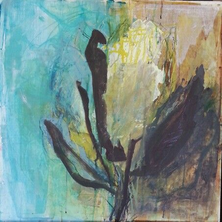 Janine Holloway-'Dissolving Protea' -Acrylic on board 600 x600 mm