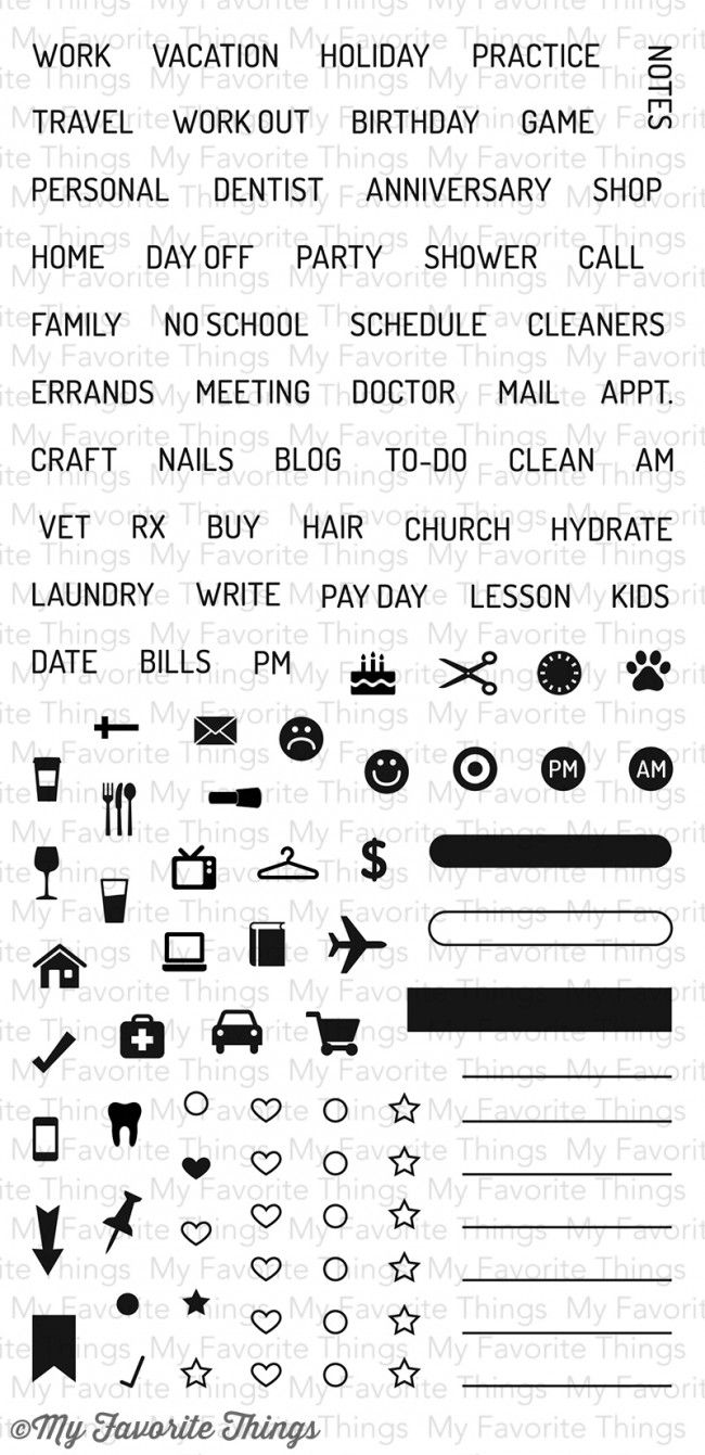 LLD Planner Basics Clear Stamps from My Favorite Things $17.99