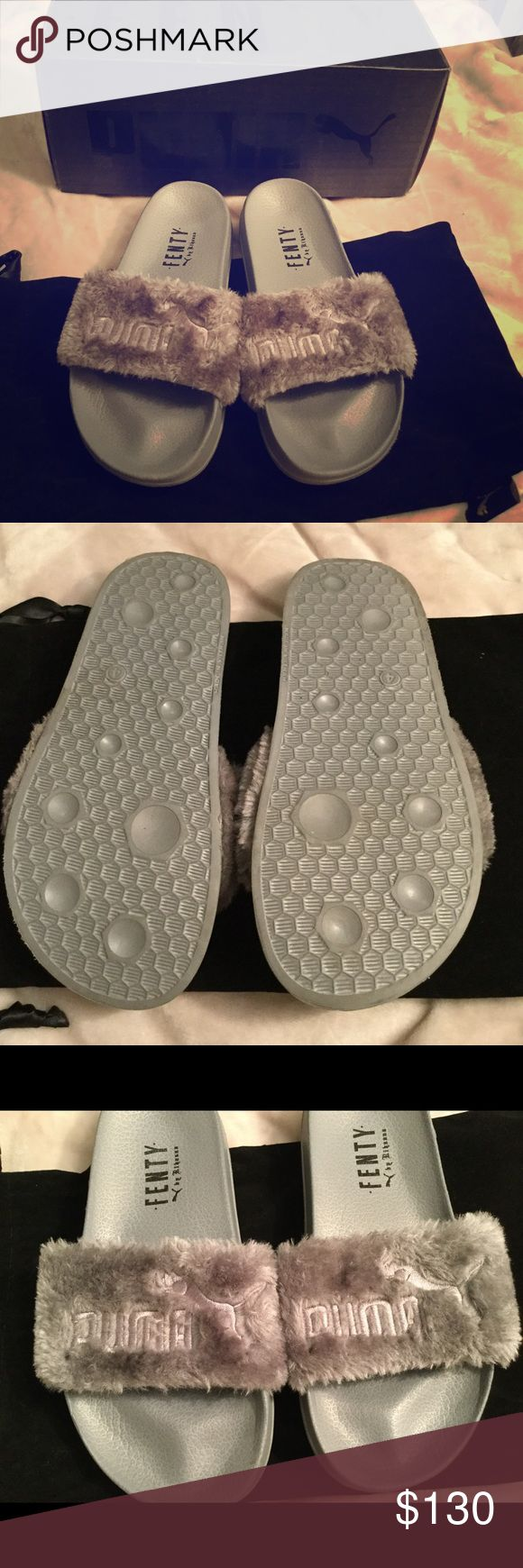 NWB fenty puma sliders Brand new Rihanna fenty puma sliders, in cool grey. These are super comfortable and stylish 😍 part of the Rihanna fenty collection. Sold out everywhere, I own two other pairs and love them. Size 6.5 but fits a 6.5/7/7.5 bought these off amazon the day they came out Puma Shoes Sandals