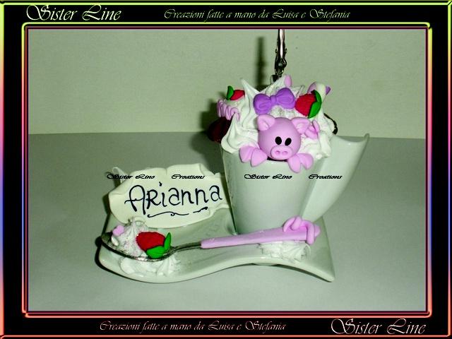 Sister Line Fimo - Tazza Pazza realizzata per la comunione di Arianna :)