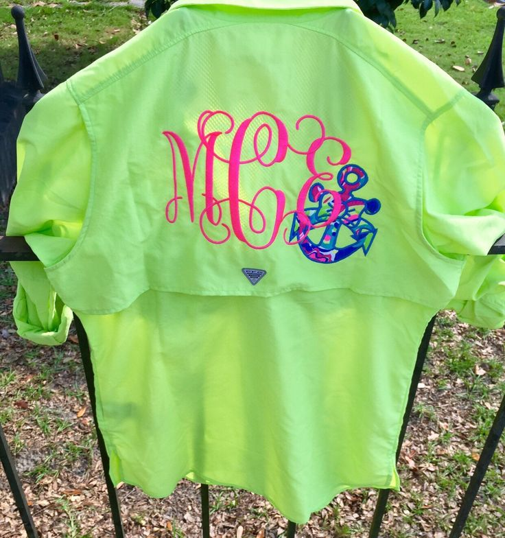 Preppy monogrammed columbia pfg fishing shirt with lilly for Monogram fishing shirt