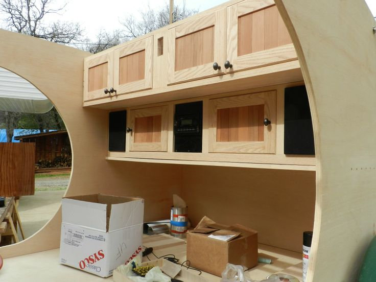 Teardrop Trailer Interiors | This is a shot of the interior storage. The middle black is a stereo ...
