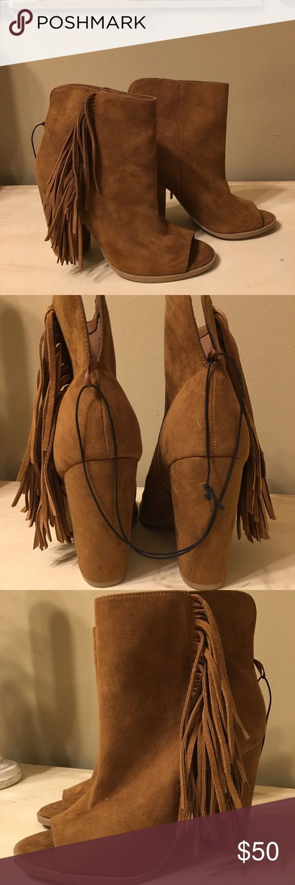"""DV Booties Never worn in EUC brown leather peep toe bootie with a 4"""" stacked heel and fringe on the outside. DV by Dolce Vita Shoes Ankle Boots & Booties"""