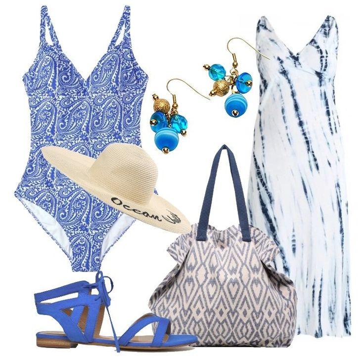 Un outfit per una donna Curvy, pensato per una vacanza al mare: vestito lungo bianco, in fantasia striata nei toni del blu, scollo a v profondo, senza maniche, costume intero blu in fantasia paisley, scollo a v profondo, spalline sottili. Comodo sandalo blu royal chiuso con laccetti alla caviglia, shopping bag grigia in tessuto, in fantasia, doppi manici, foderata, splendidi orecchini in metallo e vetro di Murano nei toni del turchese ed azzurro,...