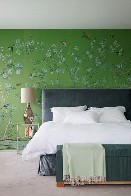 Discover bedroom design ideas on HOUSE - design, food and travel by House & Garden. A green chinoiserie feature wall gives this bedroom some...