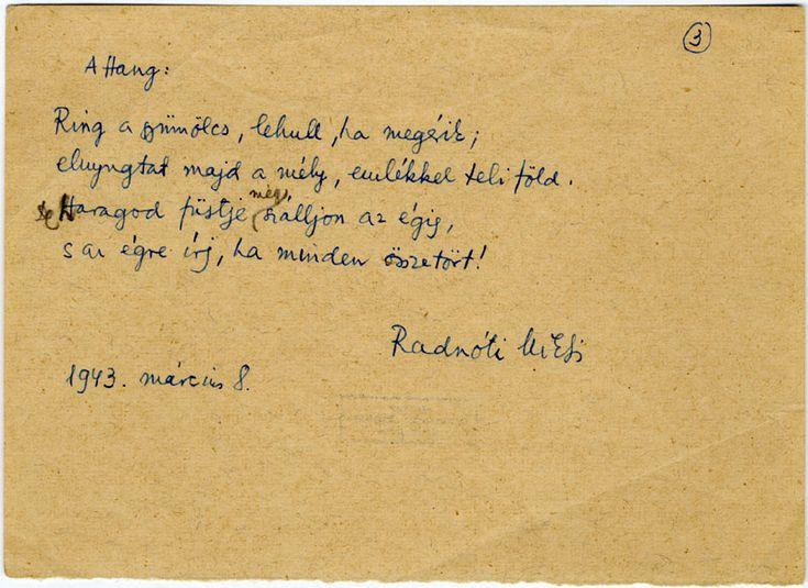 Radnóti Miklós kézirata