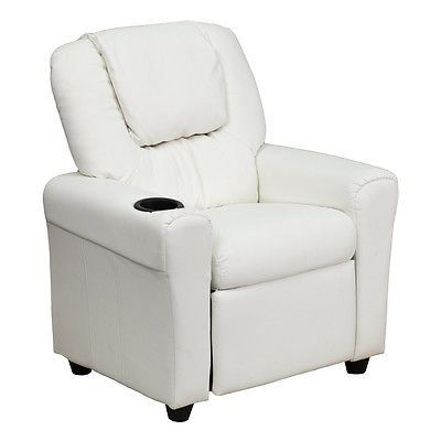 Sofas and Armchairs 134648: Flash Furniture Contemporary White Vinyl Kids Recliner W Cup Holder And Headrest -> BUY IT NOW ONLY: $93.43 on eBay!