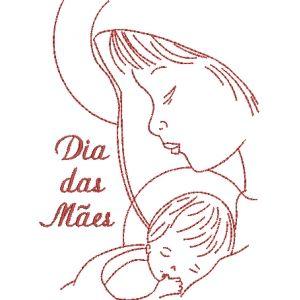 Dia das Mães 42  - Matriz em Redwork para comemorar o Dia das Mães