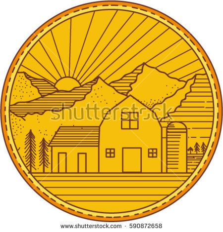 Mono line style iIllustration of an American farm barn house with silo and trees and mountain and sun burst in the background set inside circle.   #barn #monoline #illustration