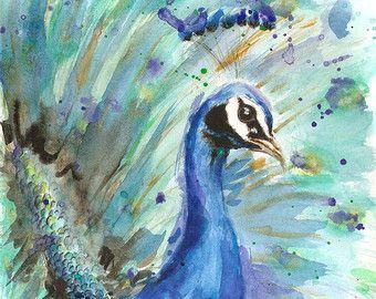 Pavo real ART PRINT - pavo real pintura, decoración, arte animal, decoración del pavo real, Acuarela del pavo real de impresión, decoración de la habitación de las niñas, retrato de pavo real de la granja