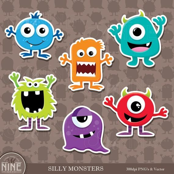 Monsters Sticker Clip Art Monster Clipart Descargas Etsy Monster Clipart Monster Stickers Monster Party