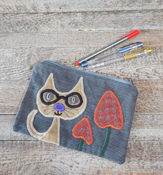 Quirky Cat Case Pencil Case Large Pencil Case Denim Pencil