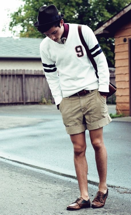 // prepMens Fashion Summer Casual, Summer Men Fashion, Letterman Sweaters, Men'S Fashion, Men'S Style, Casual Outfits, Dress Shoes, Menstyle Shorts, Style Blog