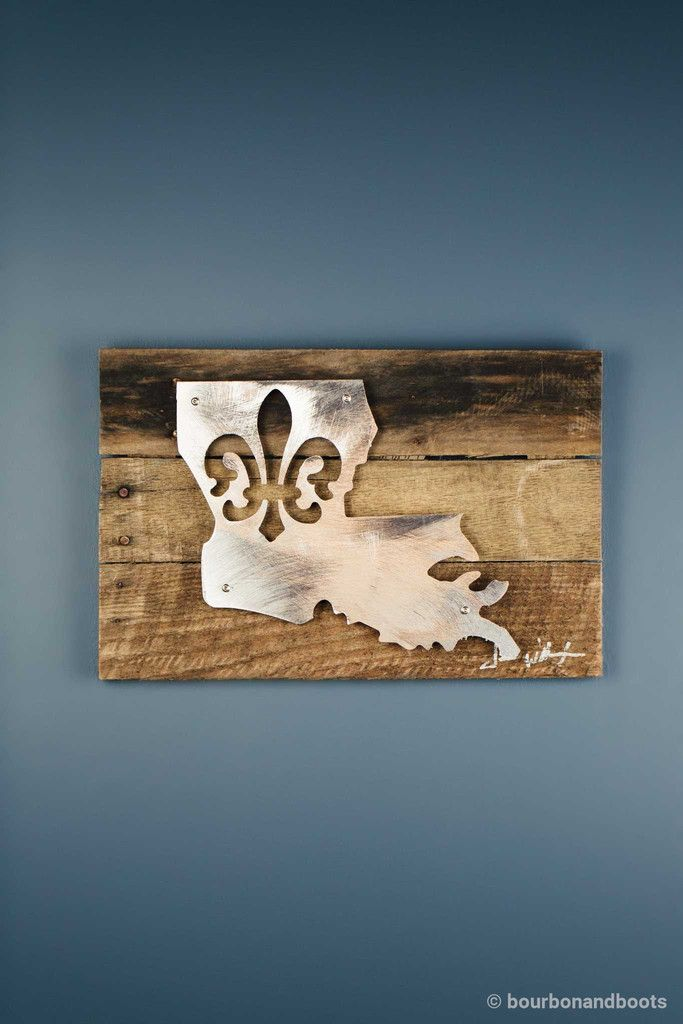 Louisiana Fleur De Lis Reclaimed Wood & Shaped Metal Art $85