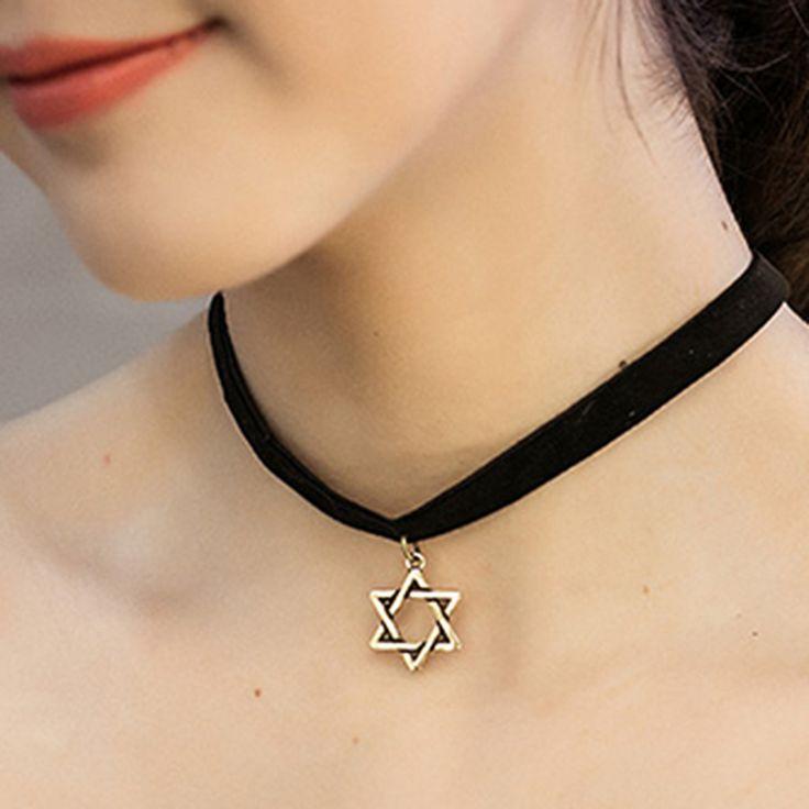 Jewish Jewelry Star of David Pendant charm Necklace/harajuku kpop fashion black velvet 90s tattoo choker for women wholesale //Price: $25.98 & FREE Shipping //     #hashtag2