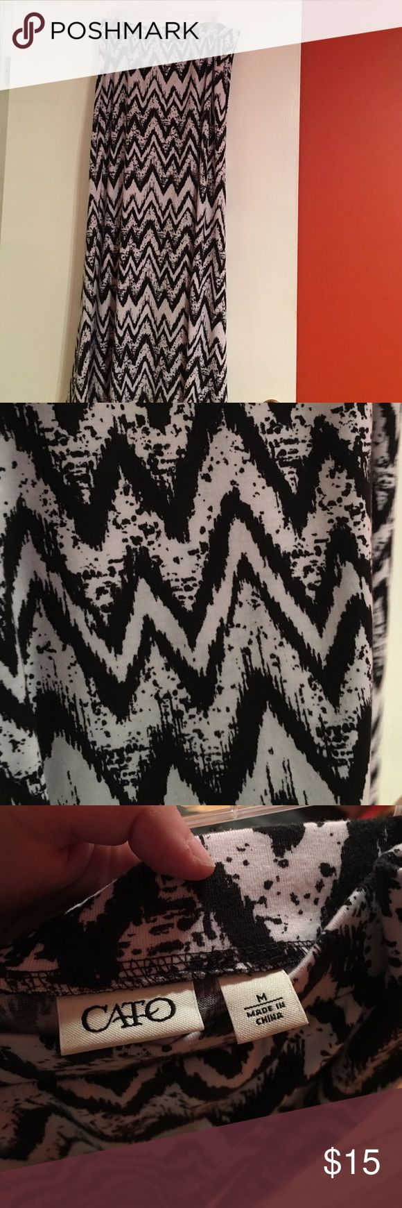 Size medium long black and white chevron skirt Size medium Cato brand black and white long chevron skirt. Barely worn. Cato Skirts