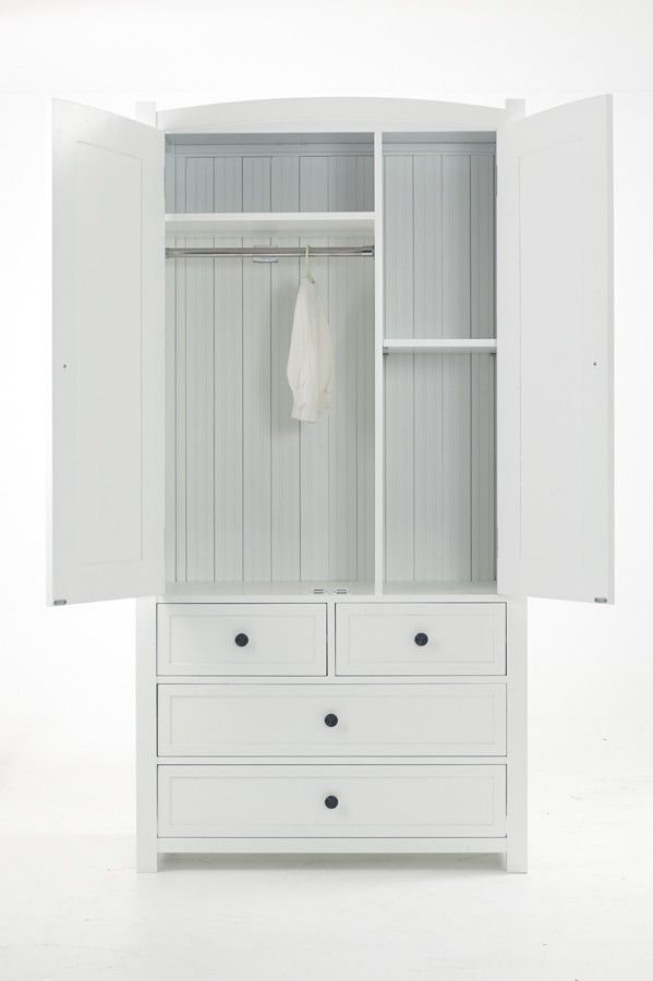 Another clever piece in the Dandelion white range. The interior of the 2 in 1 chest and double wardrobe has a hanging rail, 4 adjustable shelves as well as 4 drawers.