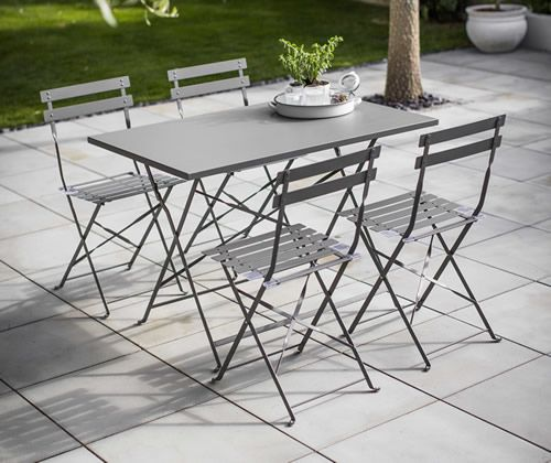 Powder coated steel rectangular bistro table and 4 chairs