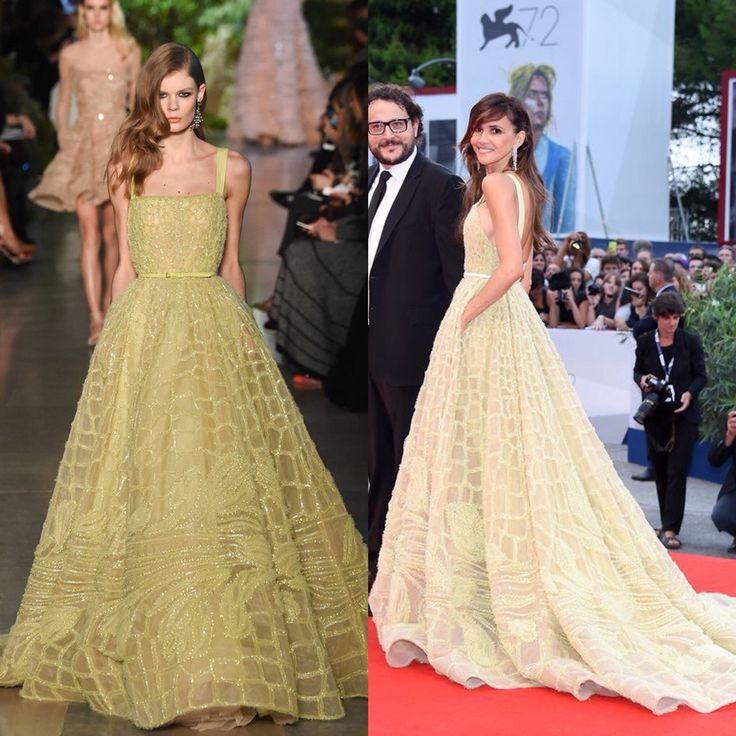 Goya Toledo in Elie Saab Couture spring 2015. Festival de Venecia. Everest Premiere.