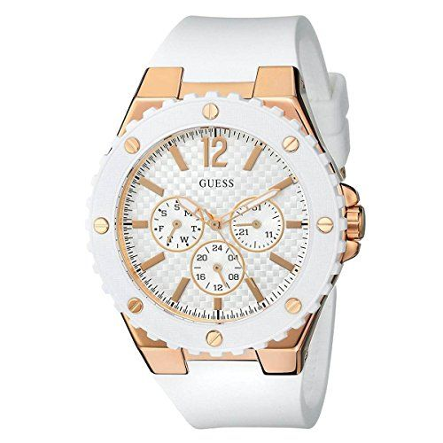 GUESS Womens U0452L1 Sporty Oversized MultiFunction Watch with Comfortable White...