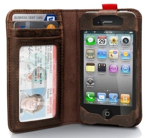 Apple Iphone 4 / Iphone4s Leather Wallet.. Great gift for the special man in your life.