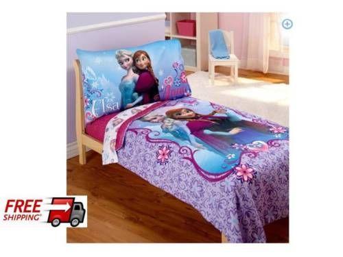 Disney Frozen Elsa Anna Toddler Bedding 4Pc Set Comforter Pillowcas Girls  Room