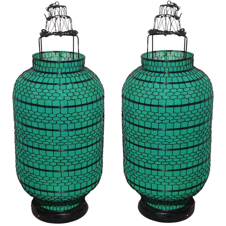 Pair of Large Chinese Classic Lanterns or Lamps, Electrified | 1stdibs.com