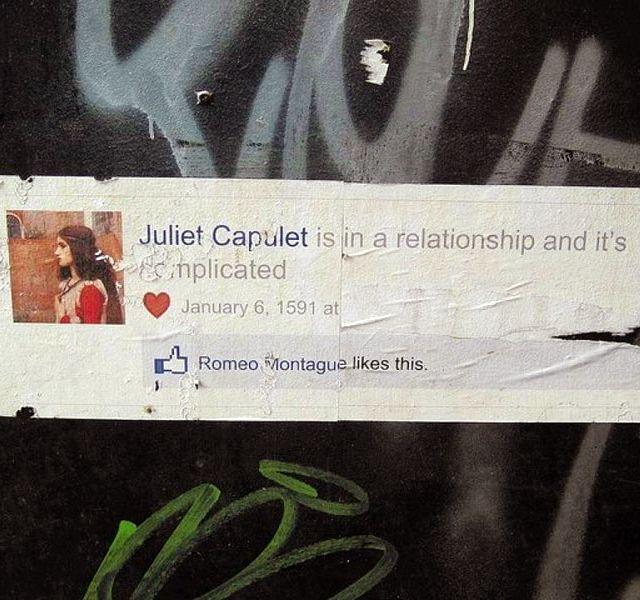 Romeo & Juliet Facebook Street Art: Romeo And Juliet, Romeoandjuliet, Its Complicated, Facebook, Street Art, Funny, Streetart