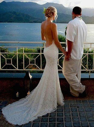 Spaghetti straps Sexy Backless Beach Wedding Dresses,Long Wedding Dresses,Backless Wedding Dresses On Sale, W12