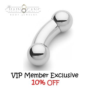 VIP MEMBER EXCLUSIVE! Surgical Steel Curved Barbells - 10% OFF! This barbells are elegant, clean and very practical. They are ideal for more sensitive piercings that require smooth jewelry, such as PA or other types of genital piercings. These barbells also look great in navel piercings. #curved #barbell #surgical #steel #genital #piercing #navel #jewelry #barbells