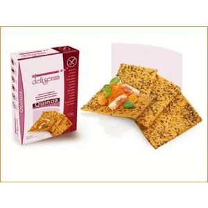 Glutenfrie quinoaknekkebrød. Finnes i velassorterte dagligvarebutikker/helsekost.
