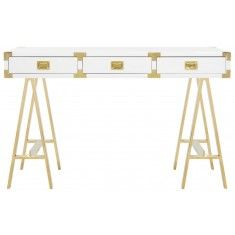 Modern White Lacquer and Gold Writing Desk