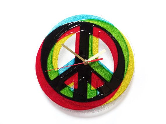 Stained Glass Clock, Peace Sign Wall Art, Hippie Home Decor, Contemporary Wall Clock, Hippie Room Decor, Colorful Clock, Peace Clock