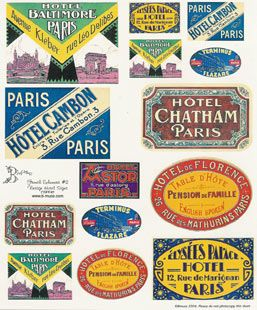 vintage hotel signs france collage sheets