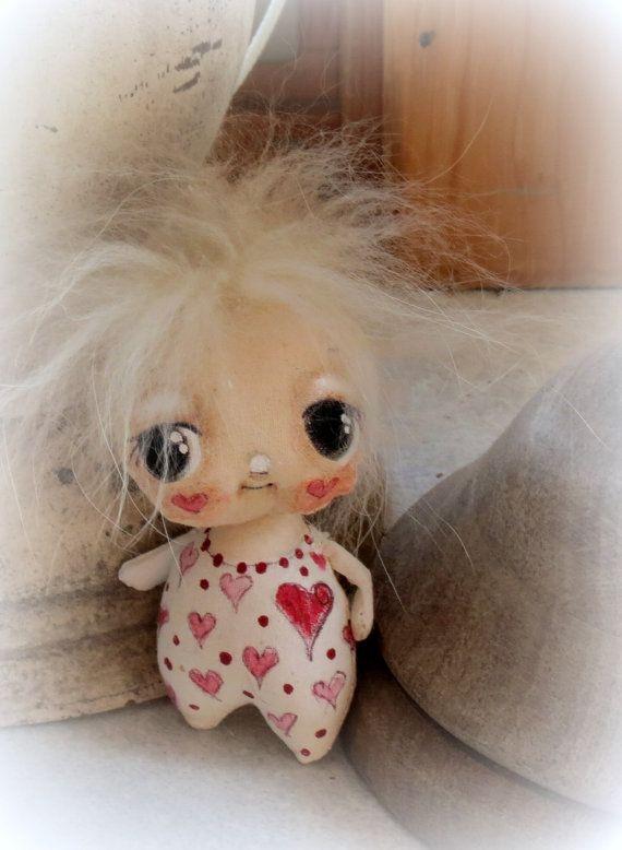 Tiny  sweetheart baby doll hand painted cloth doll by suziehayward, $48.00
